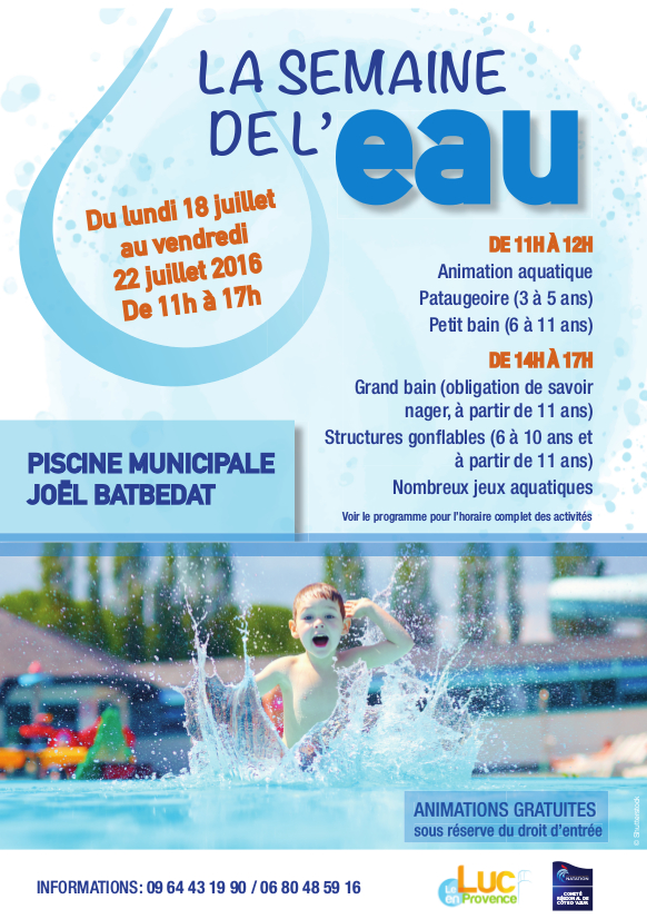 Du 18 au 22 juillet, Semaine de l'eau à la piscine