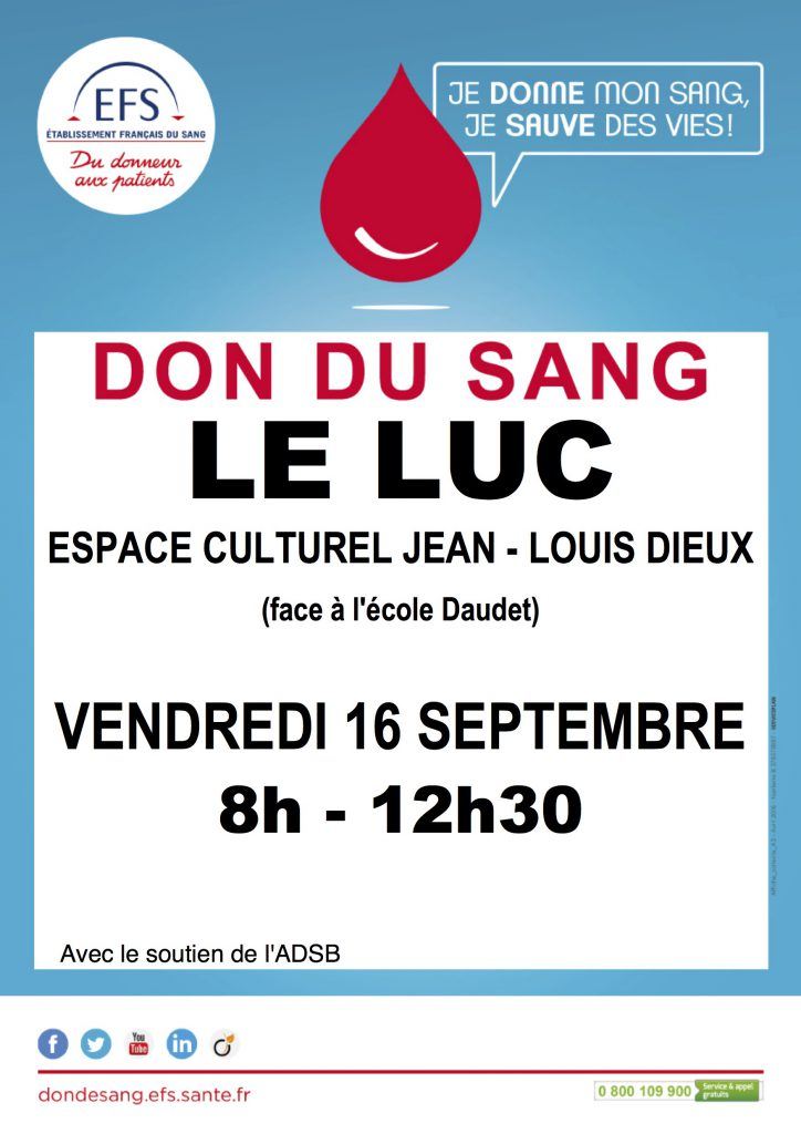 Vendredi 16 septembre, Don du sang