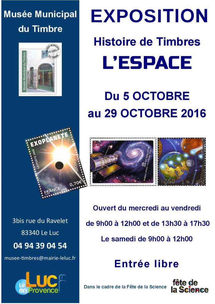 Du 5 au 29 octobre, Exposition temporaire « Histoire de timbres : L'espace »