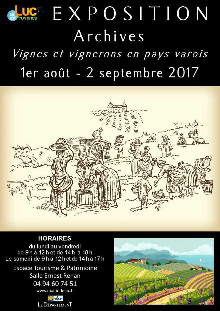 Du mardi 1er août au samedi 2 septembre, Exposition «Archives, vignes et vignerons en pays varois»