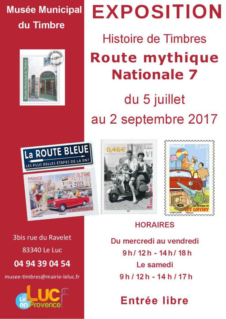 Du 5 juillet au 2 septembre, Exposition «Histoire de Timbres : Route mythique nationale 7»