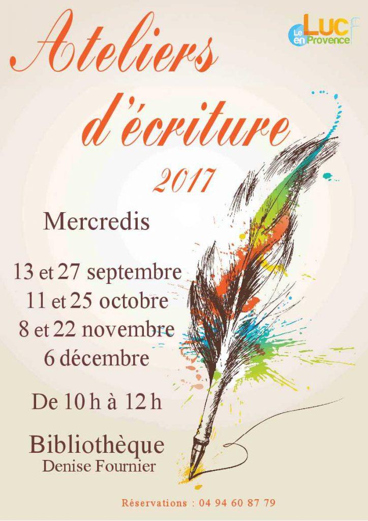 Mercredi 25 octobre, un atelier d'écriture