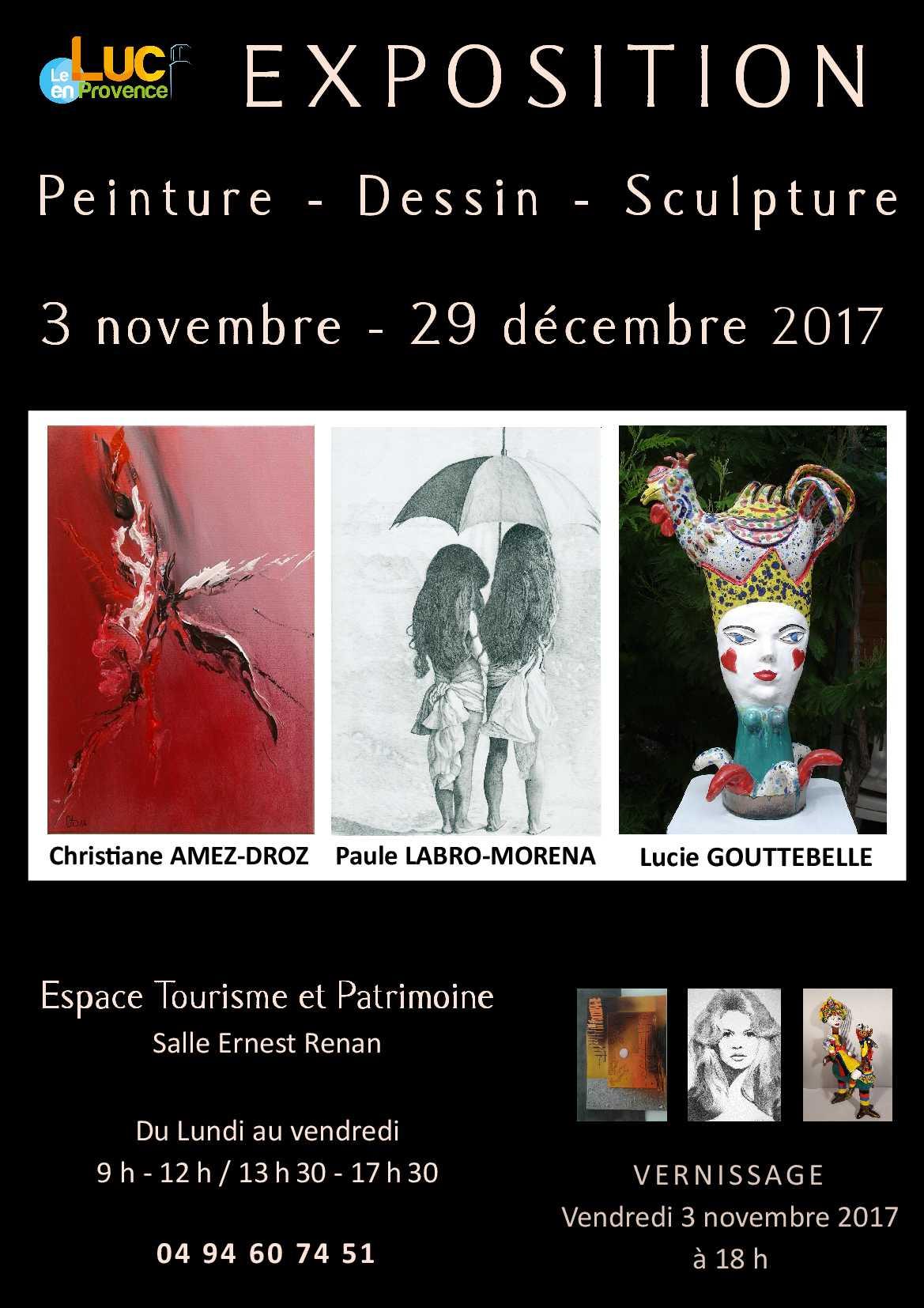 Du 3 novembre au 29 décembre, Exposition «Peinture-Dessin-Sculpture»