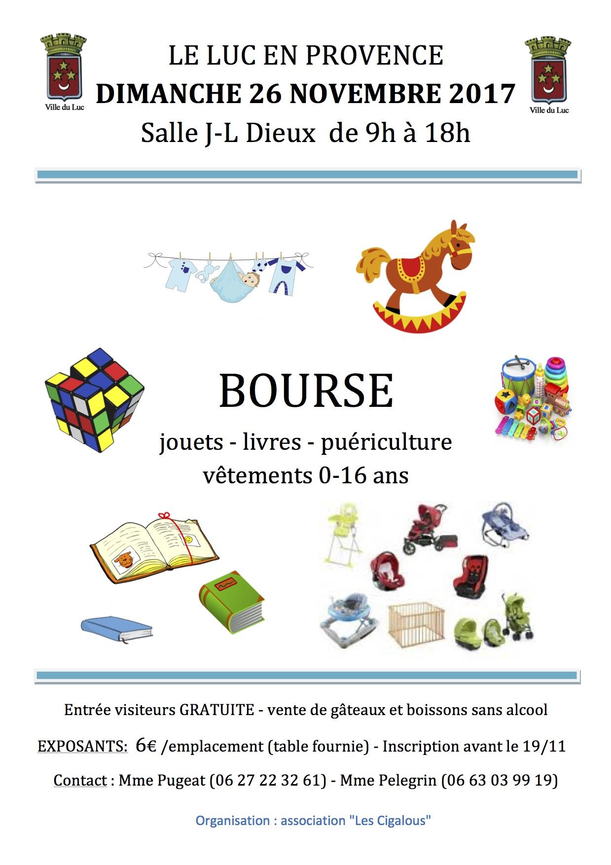 Dimanche 26 novembre, Bourse aux jouets,livres, puériculture, vêtements