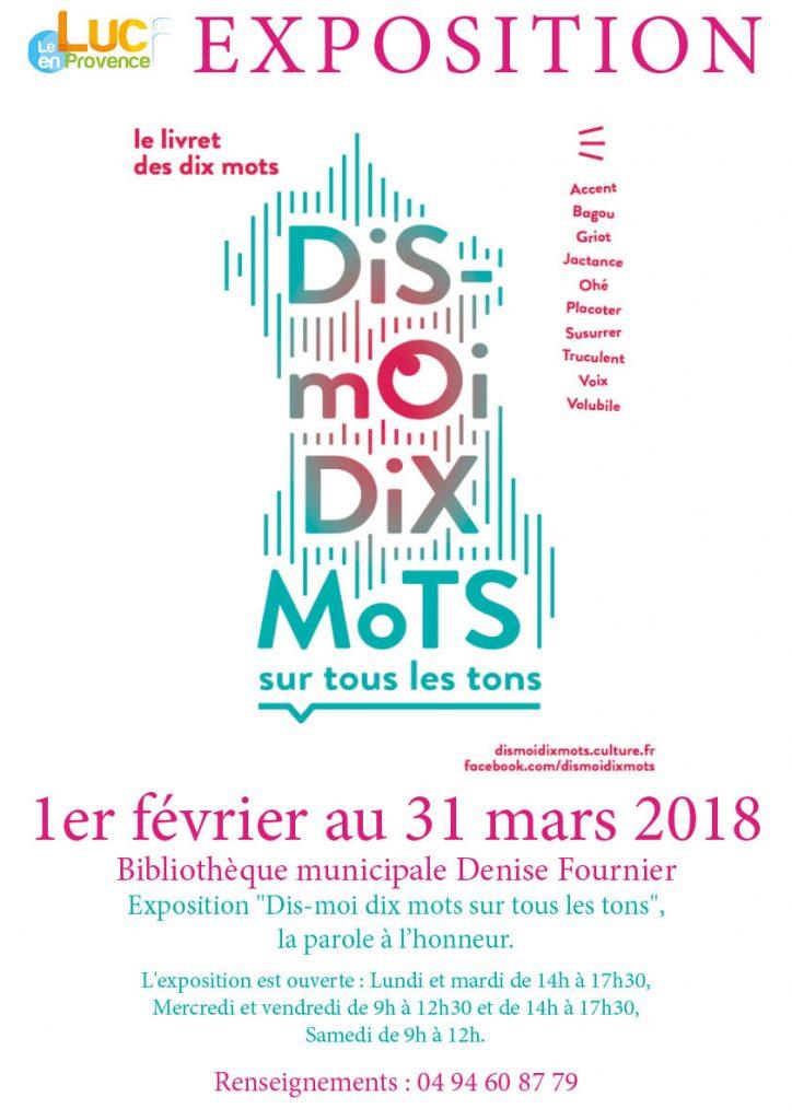 Du 1er février au 31 mars, Exposition « Dis-moi dix mots sur tous les tons »