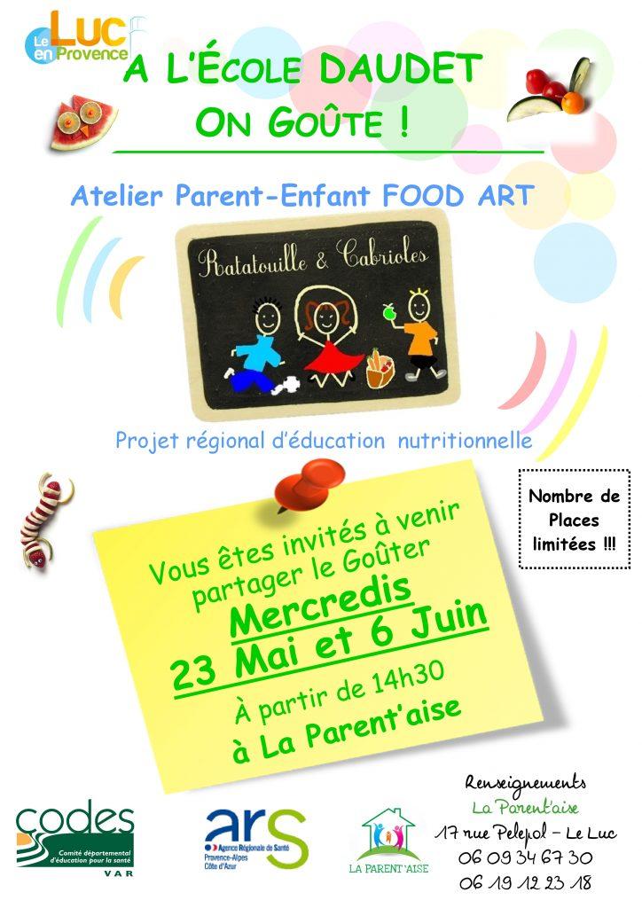 Mercredis 23 mai et 6 juin, Atelier parent-enfant FOOD ART