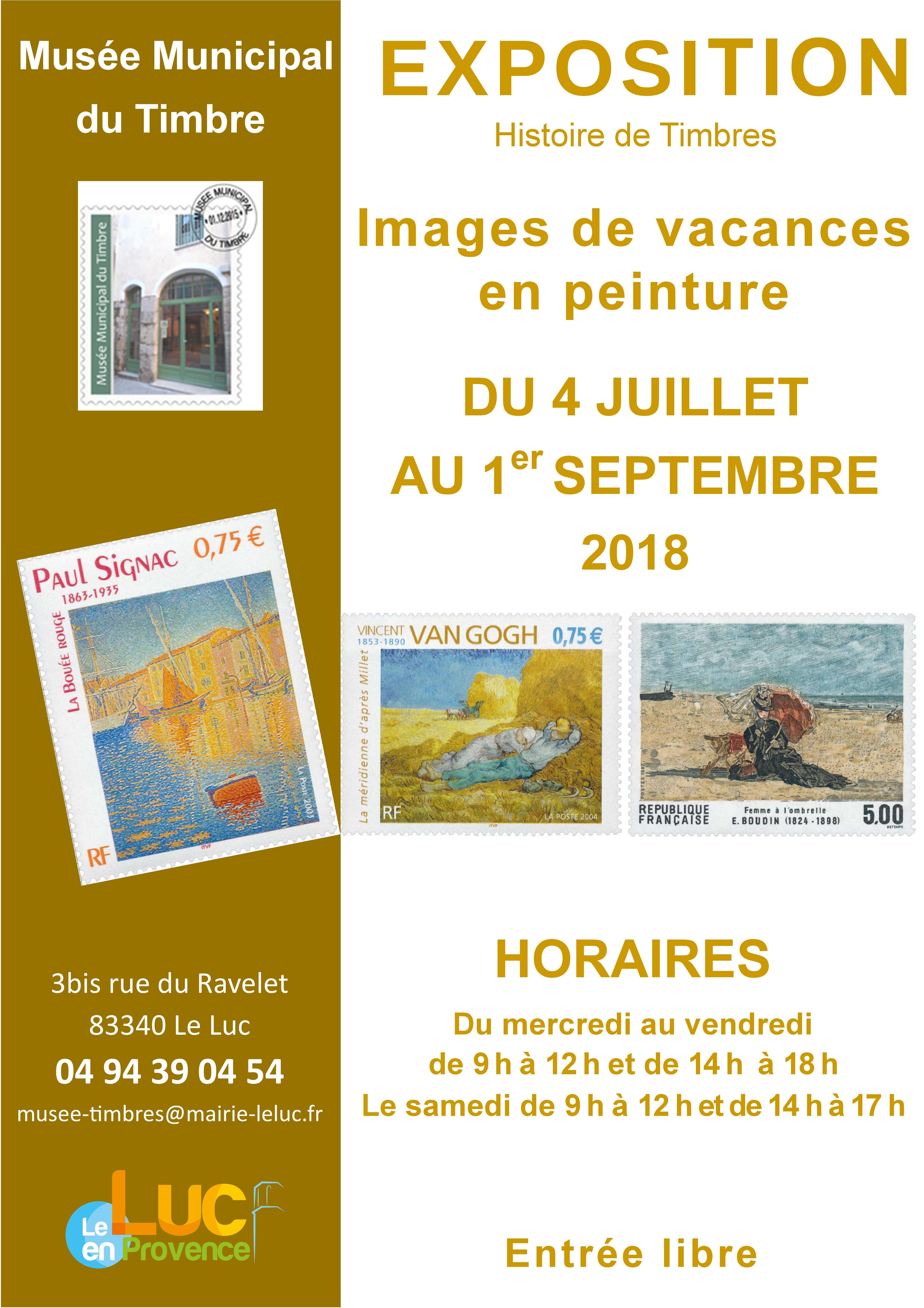 Du 3 juillet au 1er septembre, Exposition « Images de vacances en peinture »
