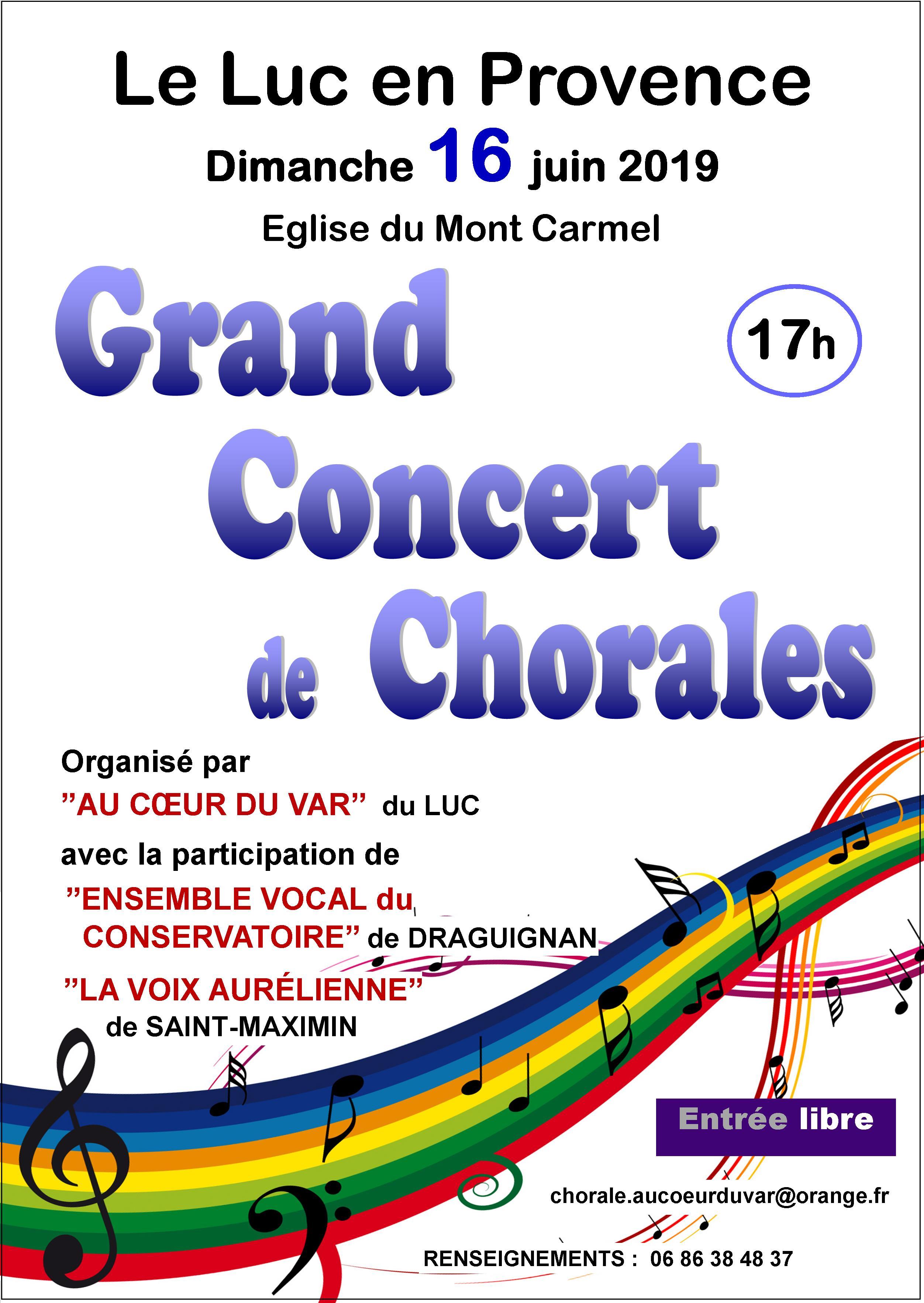 Dimanche 16 juin, Concert de chorales