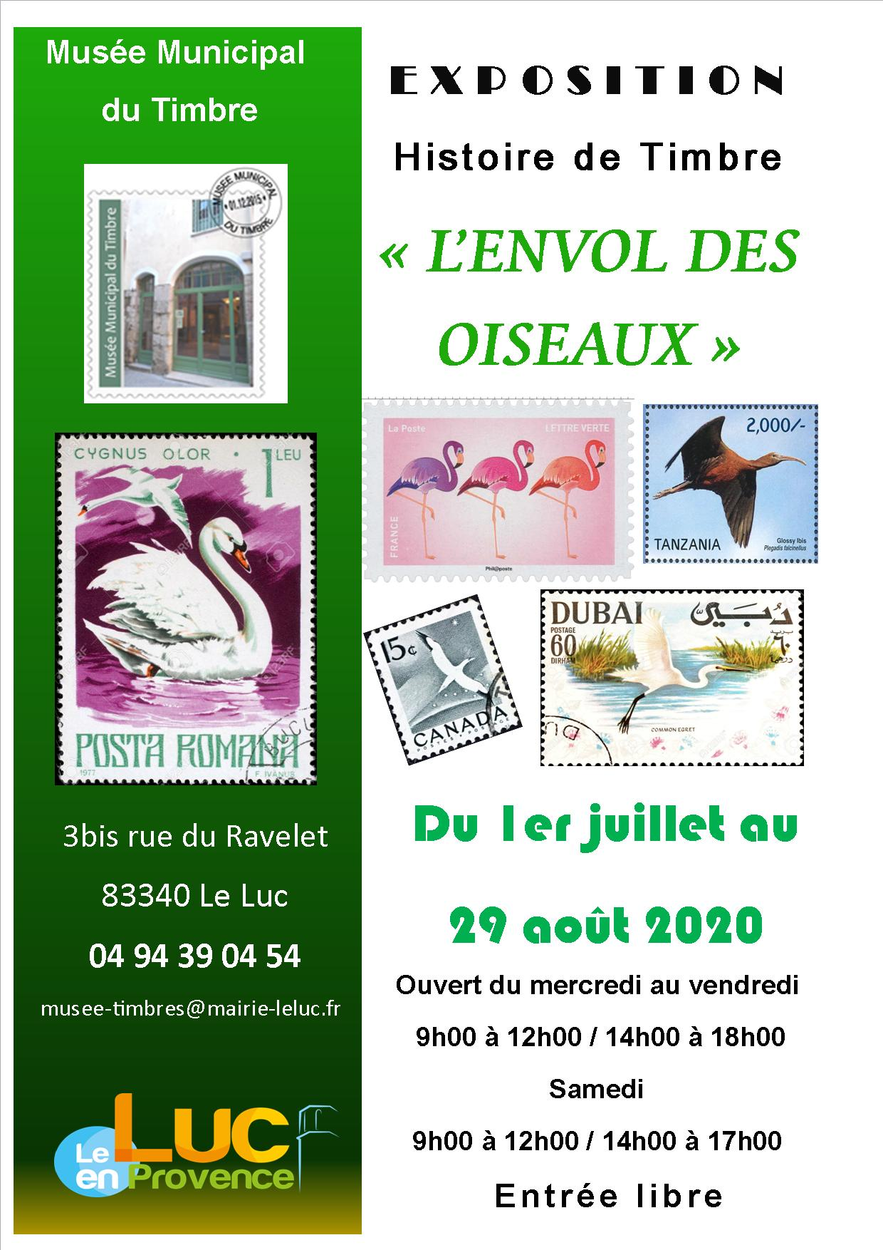 Du 1er juillet au 29 août, Exposition histoire de timbre « L'envol des oiseaux »
