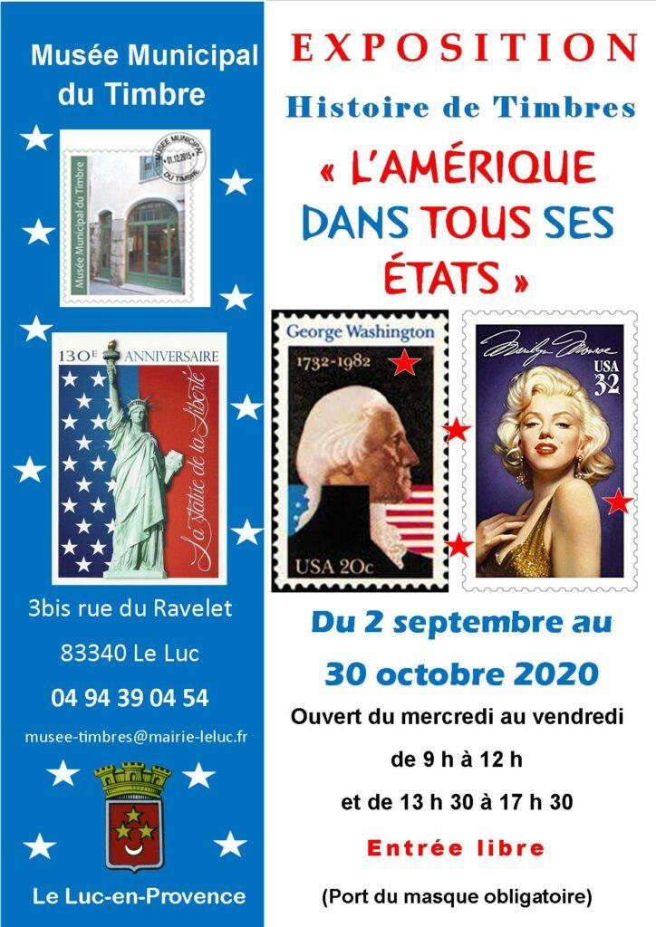 Du 2 septembre au 30 octobre, Exposition au musée de timbre « L'Amérique dans tous ses états »