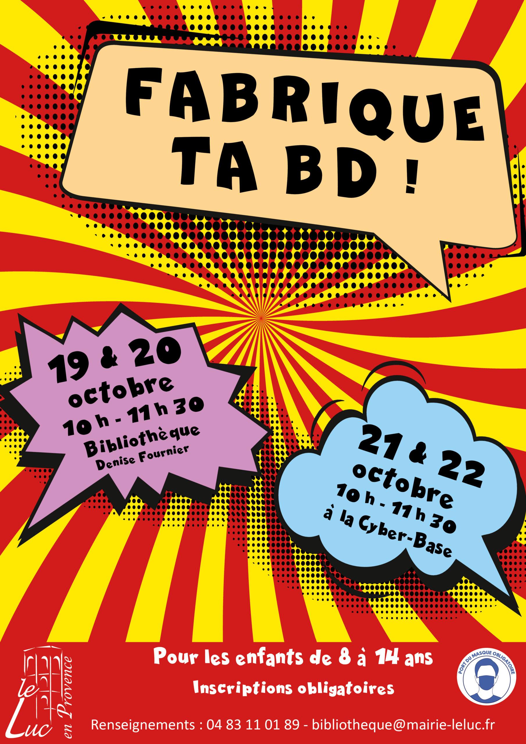 19, 20, 21 et 22 octobre : Atelier «Fabrique ta BD»