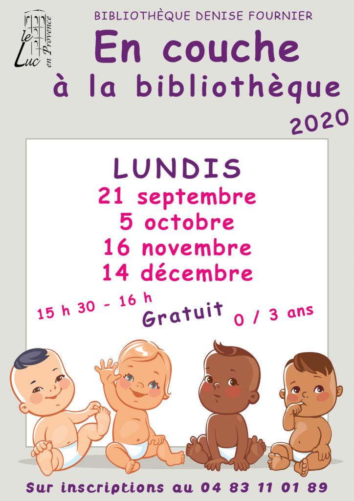 Lundi 21 septembre, Animation «En couche à la bibliothèque»