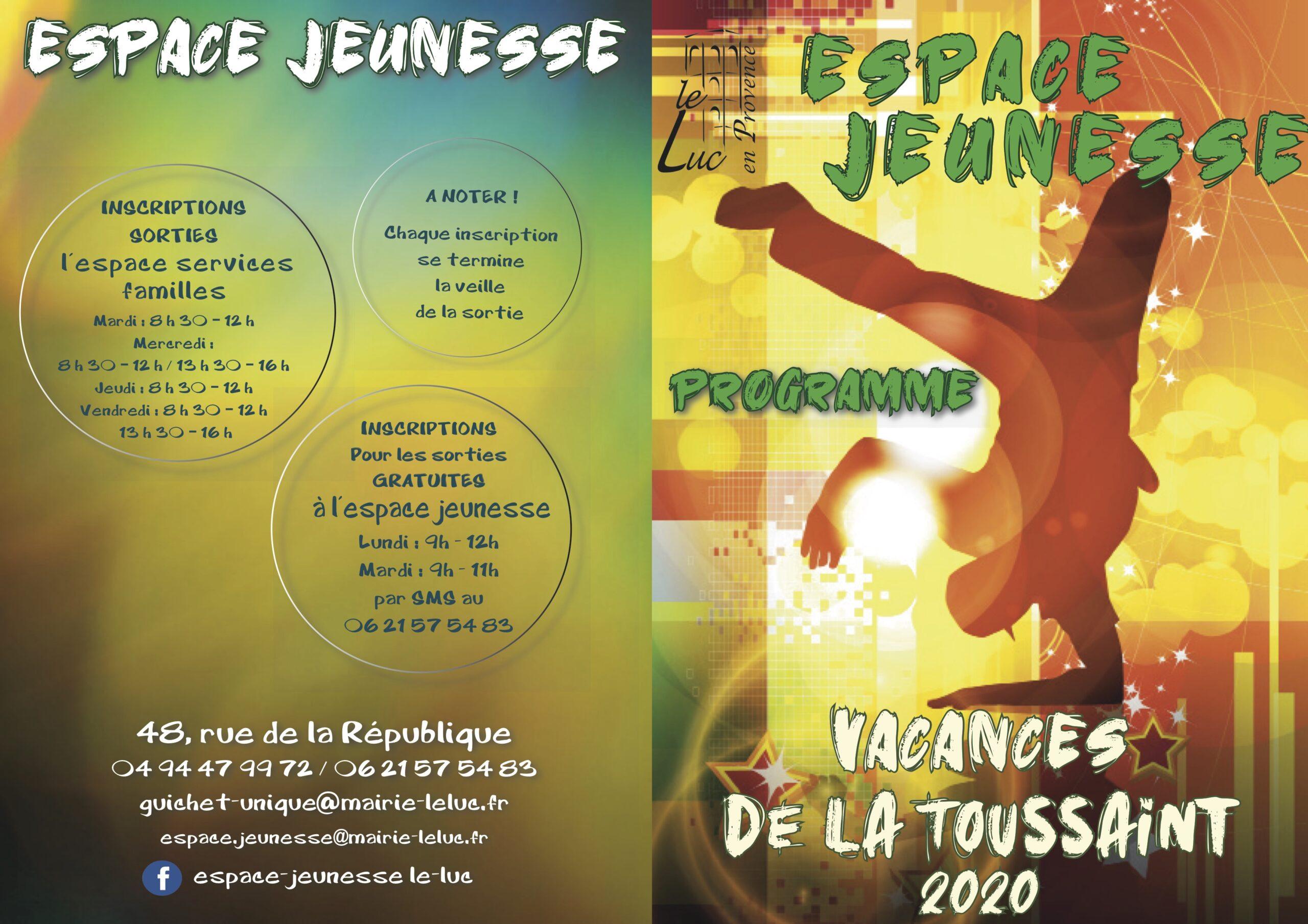 Espace jeunesse : programme des vacances de la Toussaint