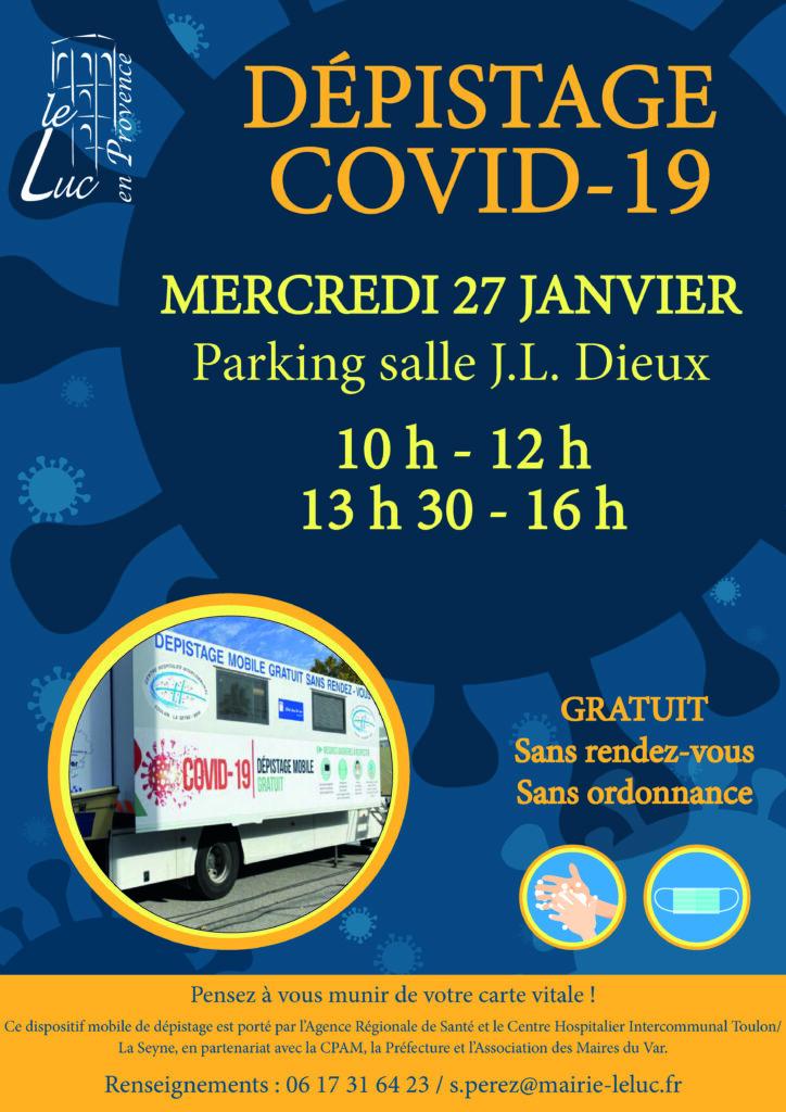 Mercredi 27 janvier, Dépistage COVID-19