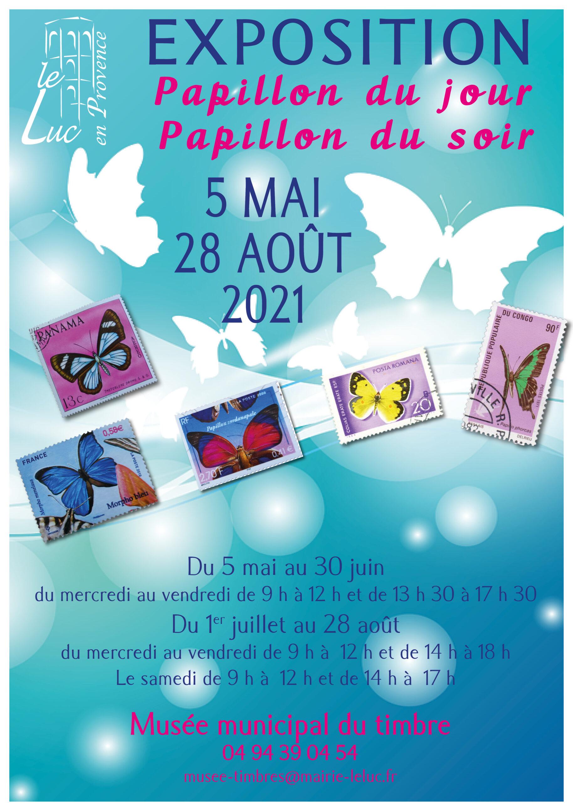 """5 mai – 28 août – Exposition de timbres """"Papillon du jour, papillon du soir"""""""