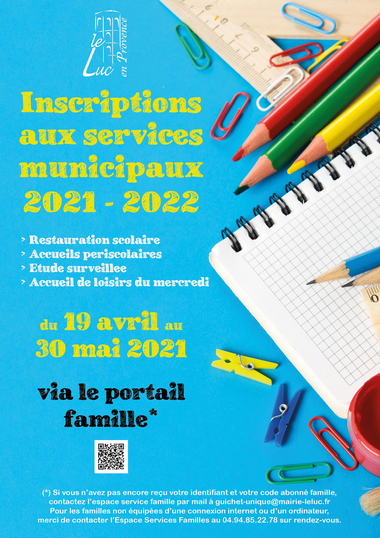 Inscriptions aux services municipaux 2021-2022