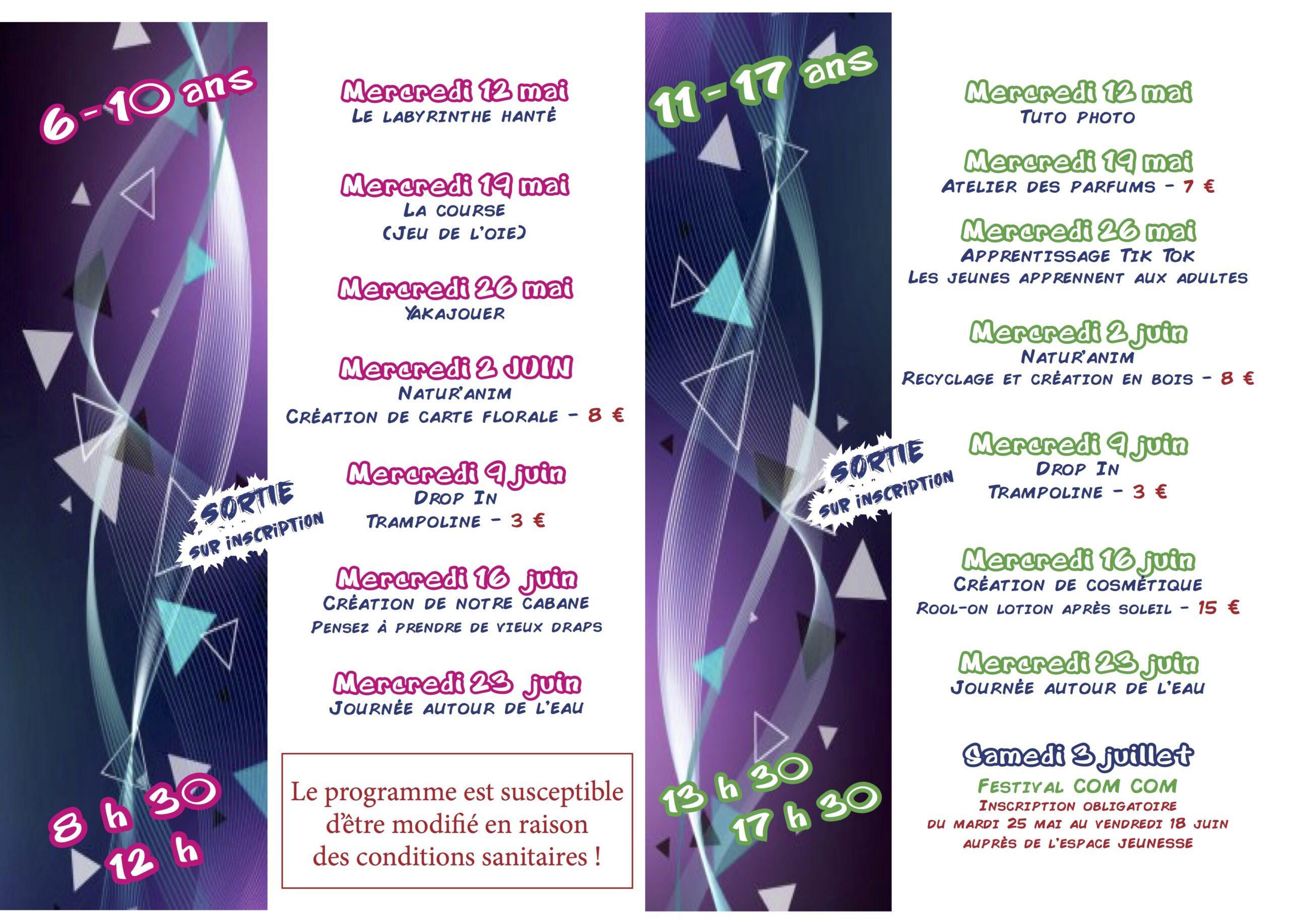 Programme de l'espace jeunesse : mai – juin 2021
