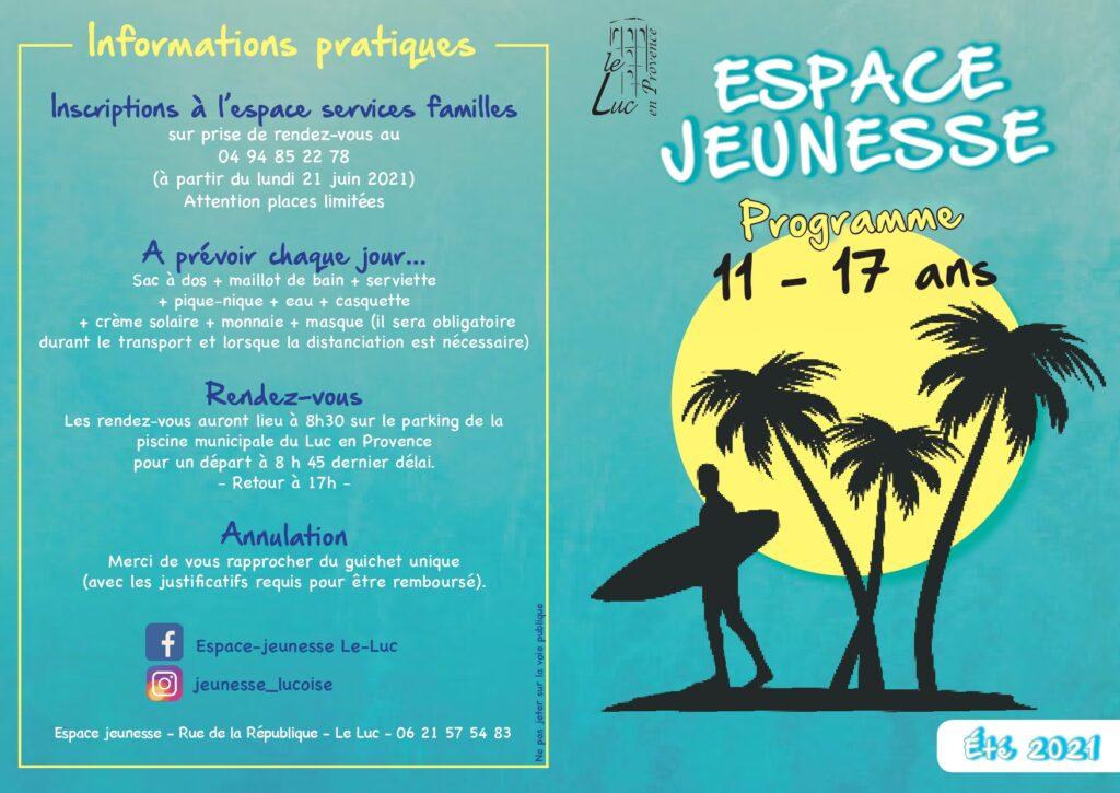 Programme de l'espace jeunesse : juillet – août 2021